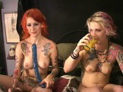 Вибратор порно ххх видео Two tattooed cuties fuck squirt w