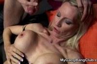 Порно ххх видео Gang bang with cute brunette