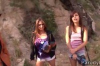 На улице порно ххх видео Fucks horny babes in the mountain