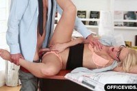 В офисе порно ххх видео Cum on her shaved secretary pussy