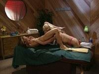 Массаж порно ххх видео Lesbian licking fun in massage room